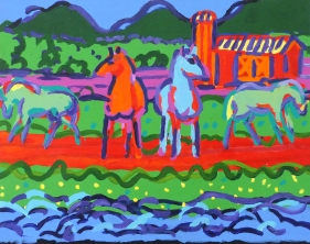Horses, Acrylic on Canvas